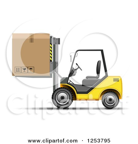 Clipart of a 3d Yellow Forklift Machine Moving a Box - Royalty Free Vector Illustration by vectorace