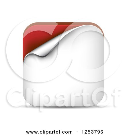 Clipart of a 3d Peeling White and Red Square Icon and Shadow - Royalty Free Vector Illustration by vectorace
