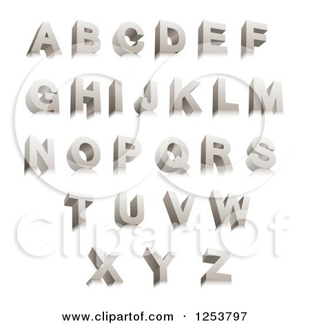 Clipart of a 3d Capital Chrome Alphabet Letters - Royalty Free Vector Illustration by vectorace