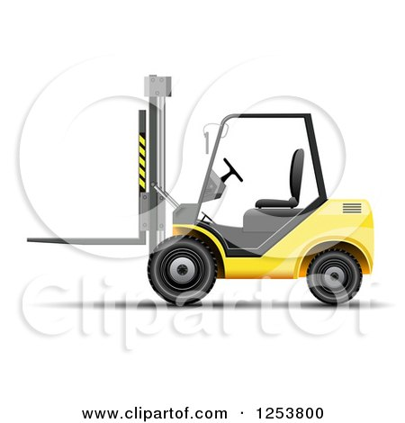 Clipart of a 3d Yellow Forklift Machine - Royalty Free Vector Illustration by vectorace
