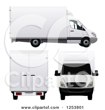 Clipart of 3d White Moving Vans - Royalty Free Vector Illustration by vectorace