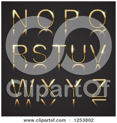 Clipart of a 3d Capital Gold and Diamond Alphabet Letters N Through Z on Black - Royalty Free Vector Illustration by vectorace
