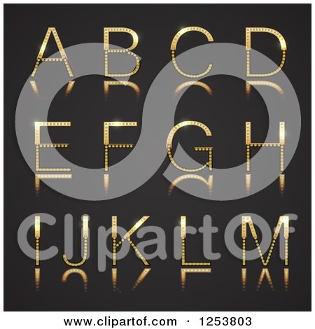 Clipart of a 3d Capital Gold and Diamond Alphabet Letters a Through M on Black - Royalty Free Vector Illustration by vectorace