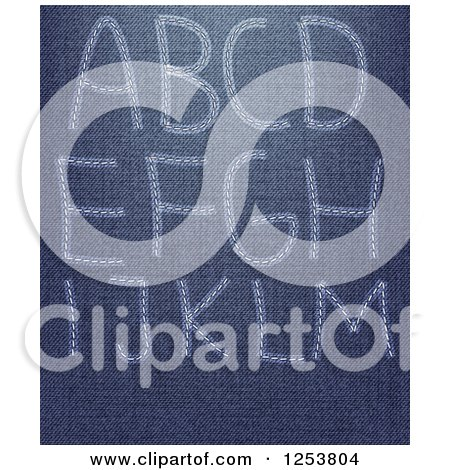 Clipart of a Capital Letters a Through M Sewn into Denim Jeans - Royalty Free Vector Illustration by vectorace
