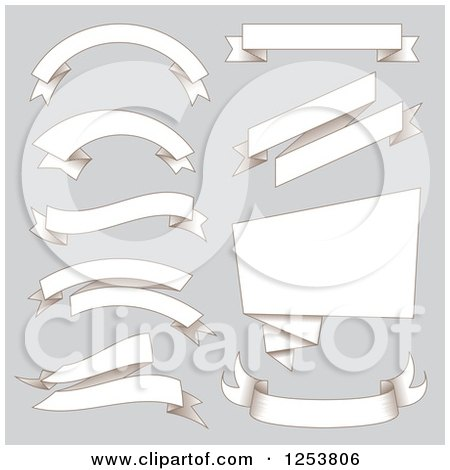Clipart of Paper Ribbon Banners on Gray - Royalty Free Vector Illustration by vectorace