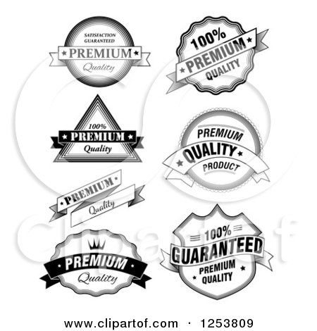 Clipart of Black and White Quality Label Design Elements - Royalty Free Vector Illustration by vectorace