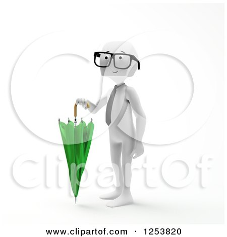 Clipart of a 3d Block Head Businessman Holding an Umbrella - Royalty Free Illustration by Mopic