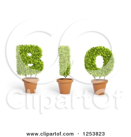 Clipart of 3d Potted Leafy Plants Spelling Bio - Royalty Free Illustration by Mopic