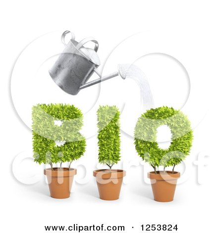 Clipart of a 3d Watering Can over Potted Plants Spelling Bio - Royalty Free Illustration by Mopic