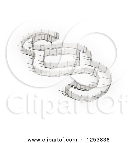 Clipart of a 3d Fence Section Sign - Royalty Free Illustration by Mopic