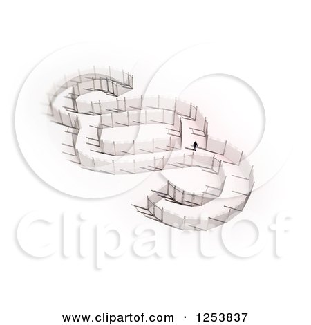 Clipart of a 3d Man Walking in a Fence Section Sign - Royalty Free Illustration by Mopic