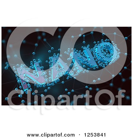 Clipart of 3d Nano Technology with Molecules on Black - Royalty Free Illustration by Mopic