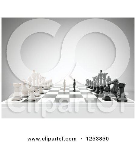 Clipart of 3d Men Copeting on a Giant Chess Board - Royalty Free Illustration by Mopic
