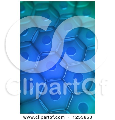 Clipart of a 3d Blue Plant Cell Background - Royalty Free Illustration by Mopic
