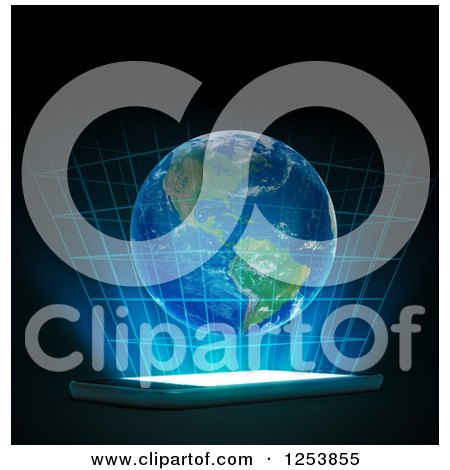 Clipart of a 3d Hologram of Earth over a Smart Phone - Royalty Free Illustration by Mopic