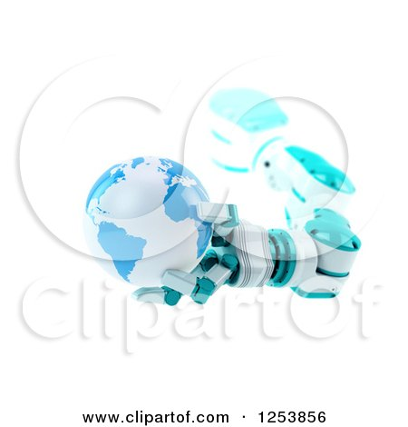 Clipart of a 3d Robotic Arm Holding Planet Earth, on White - Royalty Free Illustration by Mopic