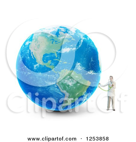 Clipart of a 3d Male Doctor Holding a Stethoscope to Earth - Royalty Free Illustration by Mopic