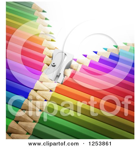 Clipart of a 3d Sharpener Zipper Through Colorful Pencils - Royalty Free Illustration by Mopic