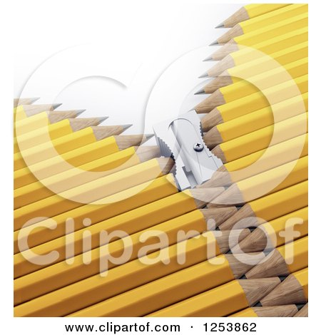 Clipart of a 3d Sharpener Zipper Through Yellow Pencils - Royalty Free Illustration by Mopic