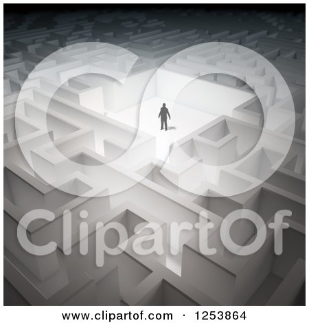 Clipart of a 3d Businessman in a Maze - Royalty Free Illustration by Mopic
