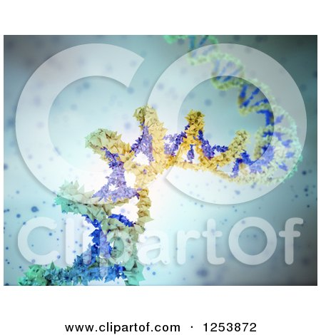 Clipart of a 3d Blue and Yellow Particle Dna Strand over Blue - Royalty Free Illustration by Mopic