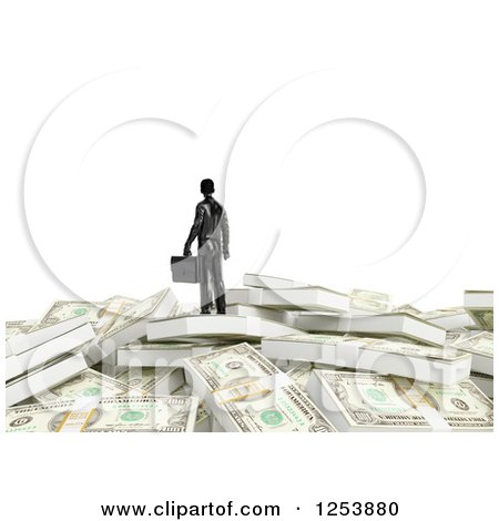 Clipart of a 3d Businessman on a Pile of Cash Money, over White - Royalty Free Illustration by Mopic