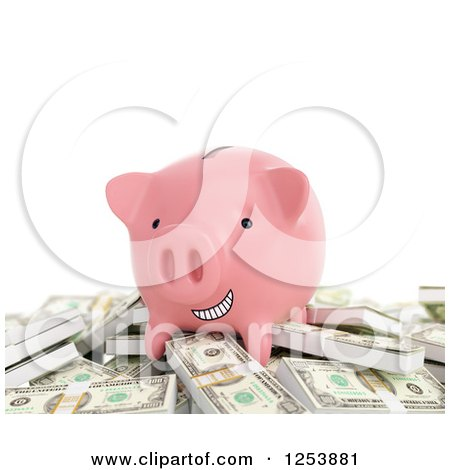 Clipart of a 3d Grinning Piggy Bank on a Pile of Cash Money, over White - Royalty Free Illustration by Mopic
