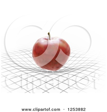 Clipart of a 3d Red Apple Bending a Grid, Spacetime Gravity Concept - Royalty Free Illustration by Mopic