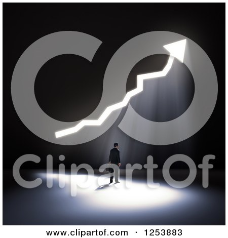 Clipart of a 3d Businessman with Bright Light Shining Through an Increase Arrow in a Wall - Royalty Free Illustration by Mopic