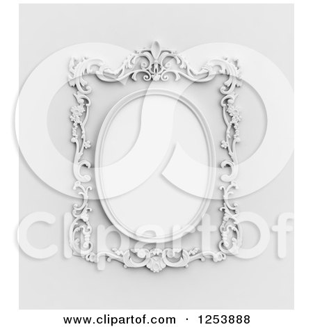 Clipart of a 3d Ornate Vintage Wall Frame - Royalty Free Illustration by Mopic