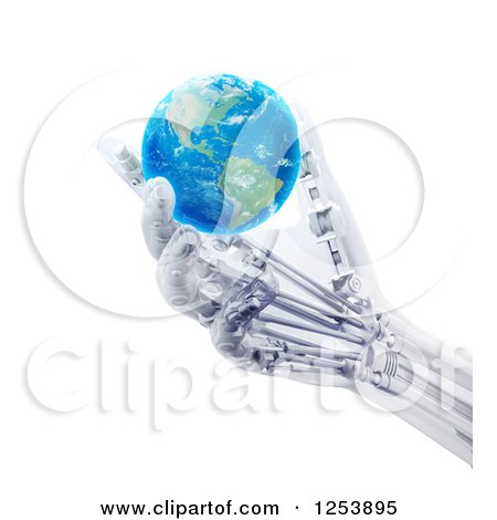Clipart of a 3d Artificial Prosthetic Robotic Hand Holding an Earth Globe - Royalty Free Illustration by Mopic