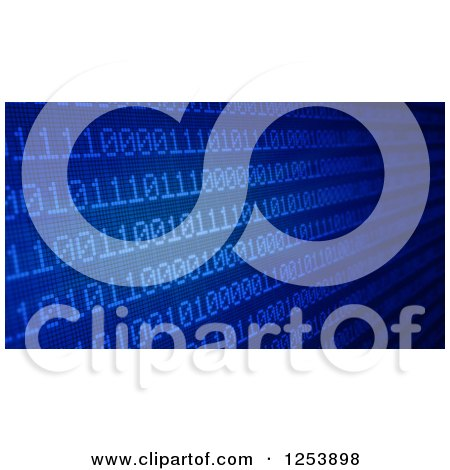 Clipart of a Blue Screen of Binary Code - Royalty Free Illustration by Mopic