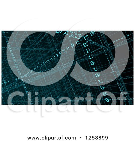 Clipart of 3d Binary Coding in Grids, over Black - Royalty Free Illustration by Mopic
