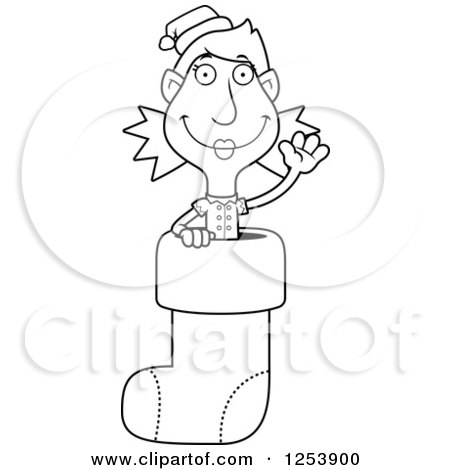 Clipart of a Black and White Woman Christmas Elf Waving in a Stocking - Royalty Free Vector Illustration by Cory Thoman