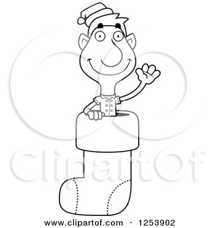 Clipart of a Black and White Man Christmas Elf Waving in a Stocking - Royalty Free Vector Illustration by Cory Thoman