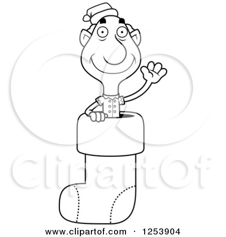 Clipart of a Black and White Grandpa Christmas Elf Waving in a Stocking - Royalty Free Vector Illustration by Cory Thoman