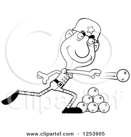 Clipart of a Black and White Grandpa Christmas Elf Throwing Snowballs - Royalty Free Vector Illustration by Cory Thoman