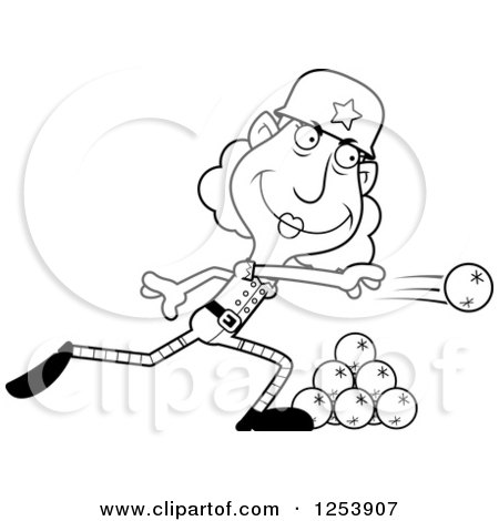 Clipart of a Black and White Grandma Christmas Elf Throwing Snowballs - Royalty Free Vector Illustration by Cory Thoman