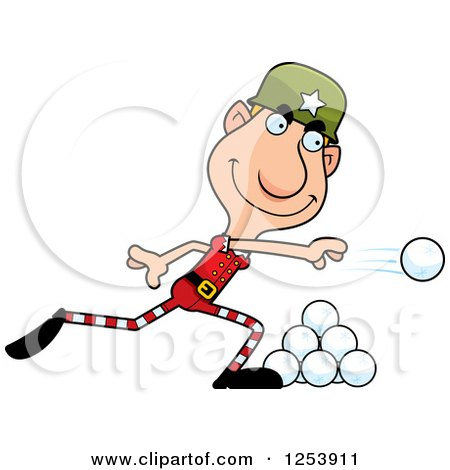 Clipart of a Man Christmas Elf Throwing Snowballs - Royalty Free Vector Illustration by Cory Thoman
