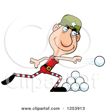 Clipart of a Grandpa Christmas Elf Throwing Snowballs - Royalty Free Vector Illustration by Cory Thoman