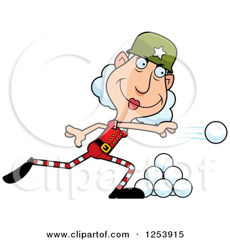 Clipart of a Grandma Christmas Elf Throwing Snowballs - Royalty Free Vector Illustration by Cory Thoman