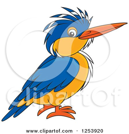 Clipart of a Happy Kingfisher Bird - Royalty Free Vector Illustration by Alex Bannykh