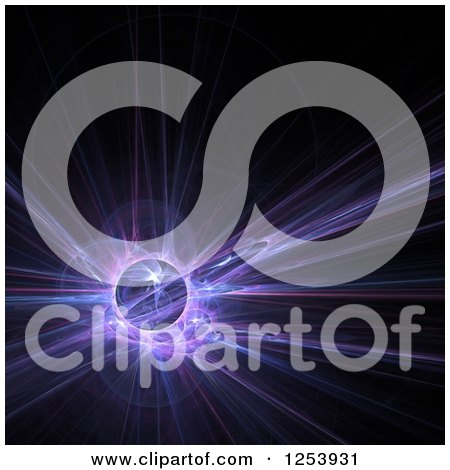 Clipart of a Glowing Blue and Purple Fractal and Globe on Black - Royalty Free Illustration by Arena Creative