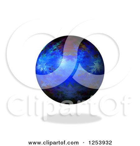 Clipart of a 3d Fractal Sphere and Shadow on White - Royalty Free Vector Illustration by oboy