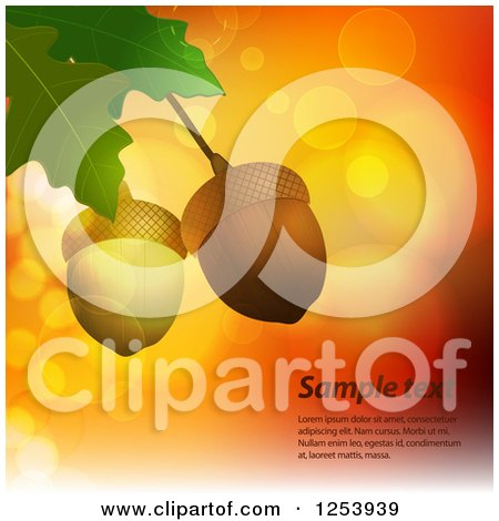 Clipart of Acorns and Leaves over Flares with Sample Text - Royalty Free Vector Illustration by elaineitalia