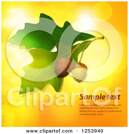 Clipart of Acorns and Leaves over Bokeh Flares with Sample Text - Royalty Free Vector Illustration by elaineitalia