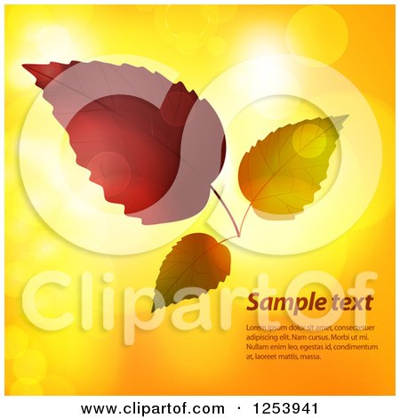 Clipart of Autumn Leaves over Flares with Sample Text - Royalty Free Vector Illustration by elaineitalia