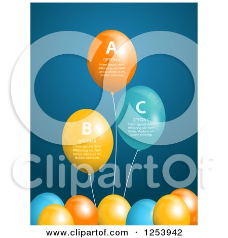 Clipart of a Background of Infographic Party Balloons with Sample Text - Royalty Free Vector Illustration by elaineitalia
