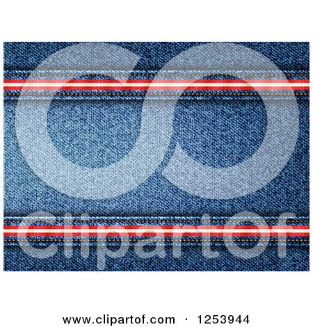 Clipart of a Denim Jean Background with Red and White Stripe Seams - Royalty Free Vector Illustration by elaineitalia