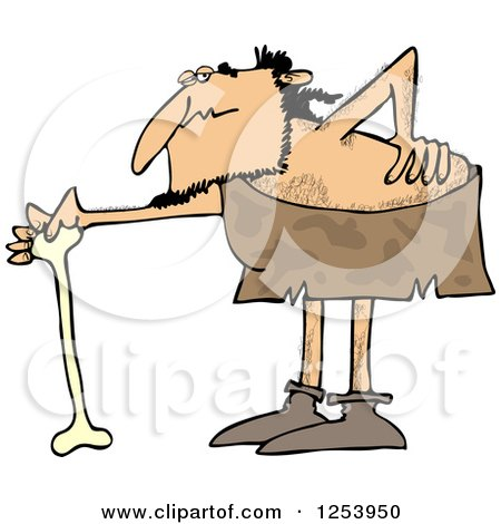 Clipart of a Caveman with a Bad Back, Bending over onto a Bone Cane - Royalty Free Vector Illustration by djart